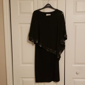 LBD with capelike overlay sequined trim
